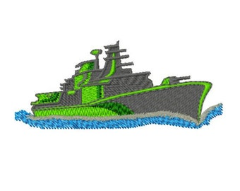 Battle Ship Machine Embroidery Design 2, Instant Download, 4x4 Hoop, 6 Formats