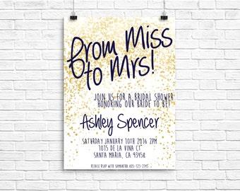 Gold and Navy bridal shower invitation | navy and gold bridal shower invitation | bridal shower invite | glitter invitation | miss to mrs