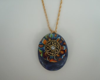 Multi Color Fabric and Crystal Swirl Button Sodalite Pendant Necklace