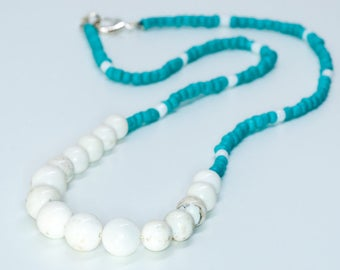 Turquoise and White Stone Beaded Statement Necklace
