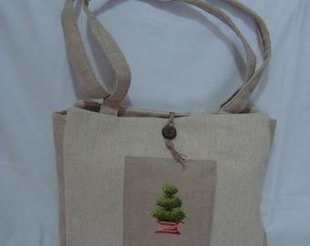 linen embroidered chevron - unique handbag