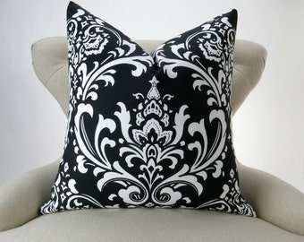 Black Damask Floor Pillow Cover -up to 28x28 inch- Black Euro Sham, Big Damask Pillow, Black White Cushion, Ozborne Premier Prints, FREESHIP