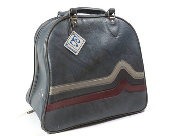 Marbled Grey Brunswick Bowling Bag Vintage 1970s Rockabilly Bowling Ball Bag Overnighter