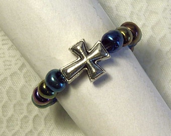 "Cynthia Lynn ""SACRIFICE"" Silver Plated Multi-Color Glass Beaded Christian Cross Ring"