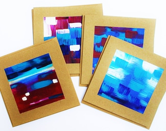 Red, Blue and Turquoise - 4 original art notecards
