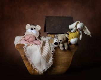 Noah's Ark Digital Backdrop Newborn Photo Prop. Digital Background Wooden Noah's Ark with Cute Animals