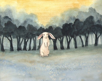 RESERVED for LS - Original Art -  November Woods- Watercolor Rabbit Painting