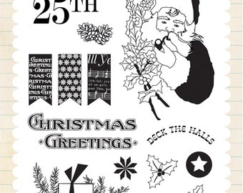 Carta Bella Paper CHRISTMAS WONDERLAND Holiday Clear Acrylic Stamps Set - Deck the Halls (CBCW46031)