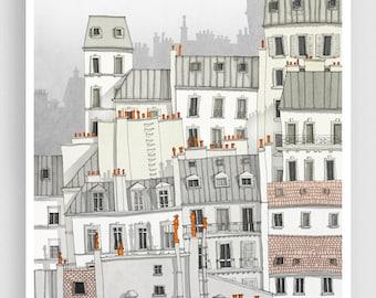 Paris, Montmartre - Paris illustration Paris Art Prints Posters Home decor Wall decor Gift ideas for her Modern Architectural drawing White