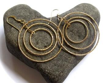 Triple Hoop Earrings, Gold Hammered Hoops, Circles, Elegant  Jewelry,  Gift, Boho, Handmade Maui Hawaii, Spring Fashion