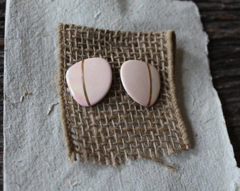 Vintage Pink Enamel on Tile with Gold Accents Pierce Earrings