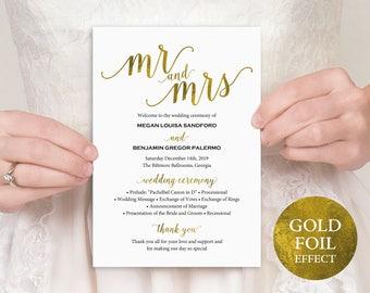 Gold Wedding Program, Mr and Mrs, Wedding Program Printable, Wedding Program Template, Printable Program, PDF Instant Download, MM01-3