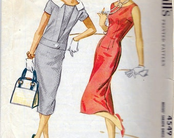 Vintage 1958 McCall's 4549 Sheath Dress & Jacket Sewing Pattern Size 18 Bust 38""
