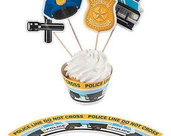 Police Party Cupcake Wrappers with Picks