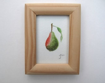 Original signed and framed Miniature watercolour painting of a pear, Blush Pear 2