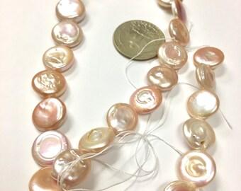 Peach-Golden Freshwater Coin Pearls    MOI-B9