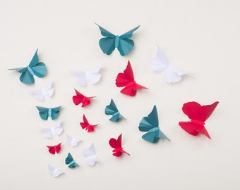 3D Wall Butterflies: Butterfly Wall Art for Party and Holiday Home Decor Red, Green & White, Christmas