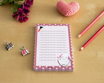 Rabbit Notepad - To Do List, Shopping List, Planner - White rabbit, pink, cute stationary