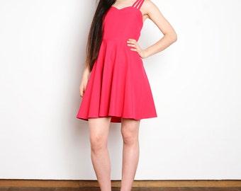 Fuchsia Swing Bow summer mod dress A line dress 60s custom made