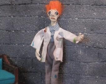 Miniature OOAK doll - the MAD scientist
