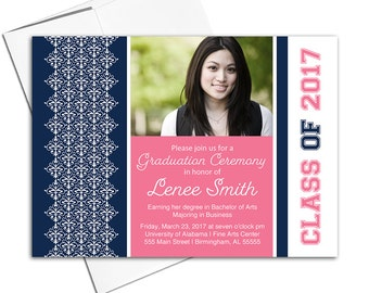 College graduation invitations 2017 grad invites, graduation party invitation printable or printed, navy and pink - WLP00407