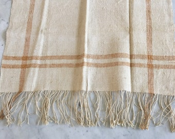 Vintage Antique Hand Woven French Fringed Linen Table Cloth Runner European Yellow Stripes