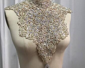 Venetian lace bib necklace, rhinestoned