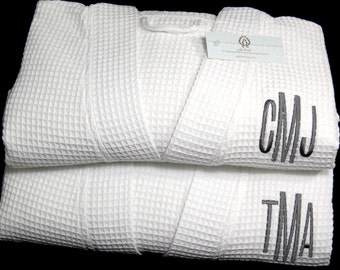 His and hers robes Cotton anniversary gift personalized with monogram jfyBride 1709 Set of 2 Robes