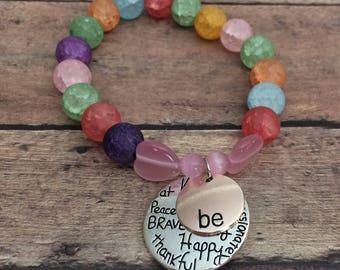 Thankful Bracelet, Inspirational Bracelet, Mantra Jewelry, Motivational Bracelet, Love Bracelet, Peace Jewelry, Kindness Bracelet  brave