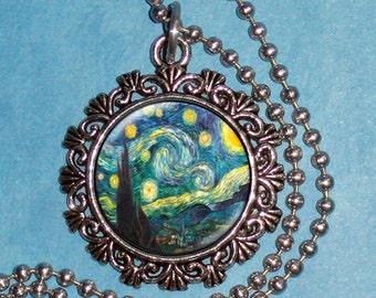 Vintage Starry Night Art Pendant, Starry Night Resin Pendant, Van Gogh Art, Photo Pendant