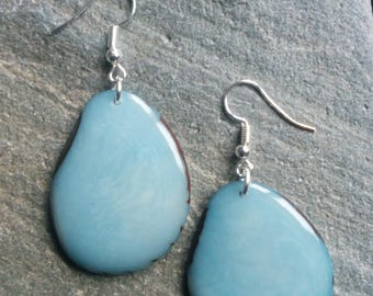1355 - blue Tagua earrings lagoon or vegetable ivory