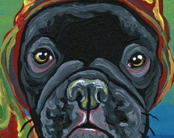 ACEO ATC French Bulldog Original Gouache Painting Pet Dog Art-Carla Smale