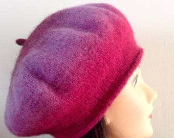 Hand knitted and felted beret, cap, wool, fuchsia, woman girl hat, gift for her, winter accessories, women accessories