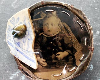 Hidden Mother Found Object Assemblage Brooch