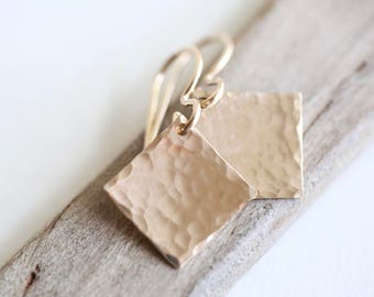 Hammered Gold Diamond Shape Earrings | Hammered Gold Earrings | Gold Boho Earrings | 14K Gold Filled Minimalist Jewelry Gift Modern Square