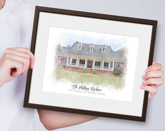 Housewarming Gift - Custom House Portrait - Custom House Watercolor - Personalized Housewarming Gift- Watercolor House- Realtor Closing Gift