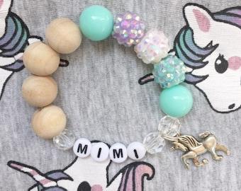 Unicorn Chunky Personalized Charm Bracelet, Toddler Girl Bracelet, Children's Jewelry, Unicorn Bracelet