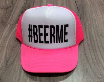 Beer Me #Beerme Trucker Hat Brunch River Lake Summer Trucker Hat Women's Trucker Hat Glitter Drinking Alcohol Party Hat