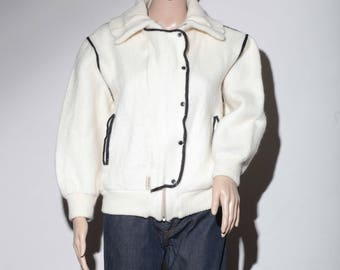 60s beige wool and cotton jacket