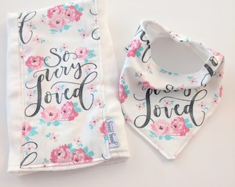 Bandana Bib, Natural Teething Ring with Bunny Ears, Pacifier Clip and Burp Cloth in Sweet Baby Girl Floral with Watercolor So Very Loved.