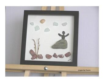 Believe, Inspiration, Joy, Motivation, Challenge, Never Give Up, Achievement, original pebble art wall art display art, gift, mixed media,