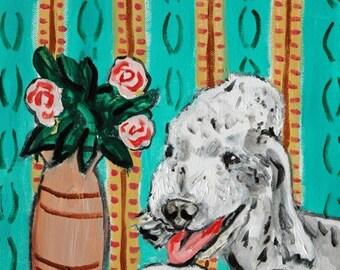 25% off Bedlington Terrier signed dog art print animals impressionism fauvism artist gift new