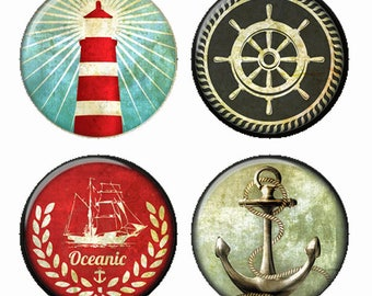 Nautical Magnets or Pinback Buttons or Flatback Medallions Anchor Lighthouse Laurel Captain Wheel