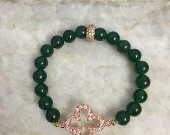 Green agate beaded bracelet with Swarovski crystal pave in rose gold clover leaf and Swarovski crystal pave rose gold spacer beads