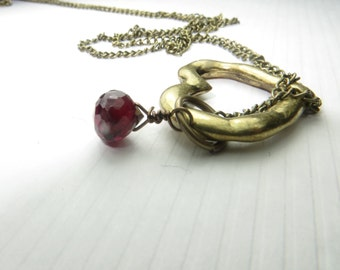 Gold Heart Garnet Charm necklace, Faceted plum garnet handwrapped teardrop hangs on Antique Gold Heart Charm, Heart charm Antique gold chain