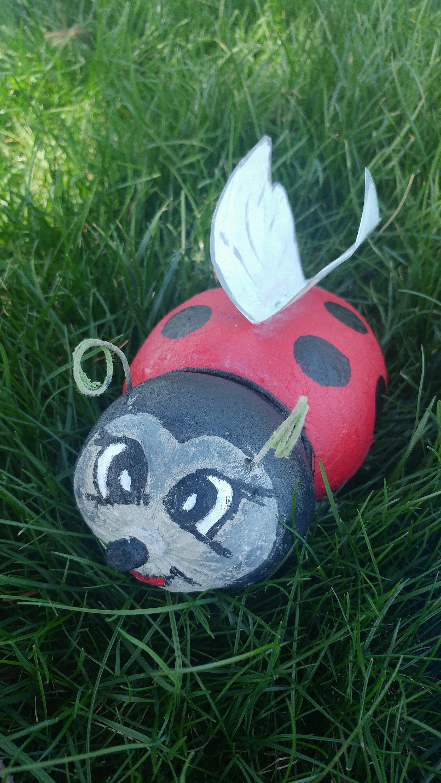 Concrete ladybug. Concrete yard art. Ladybug garden decor.