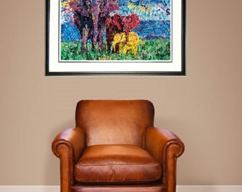 Elephant wall art, Elephant print, African Elephant, Endangered species, Elephant family, by Johno Prascak