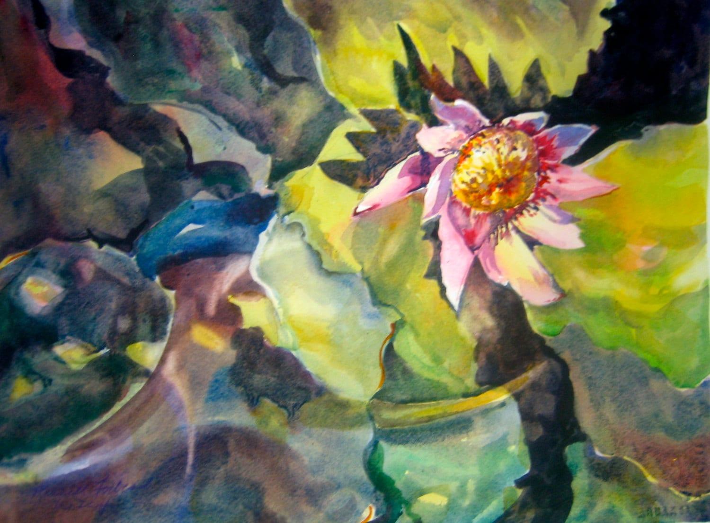 Lotus Flower Original Watercolor Loose Transparent Watercolour