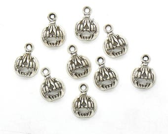 12 Pcs Pumpkin Charms Halloween Charms Pendants Antique Silver Tone 16x12mm - YD0489