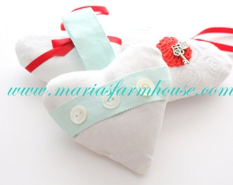 Valentine's Day Gift Inspiration, French Dried Hanging Lavender Sweetheart Heart Sachet, Mother of Pearl Buttons